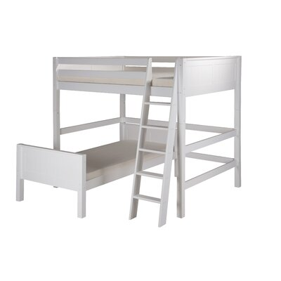 Oakwood Twin over Twin L-Shape Wood Bunk Bed Color: White