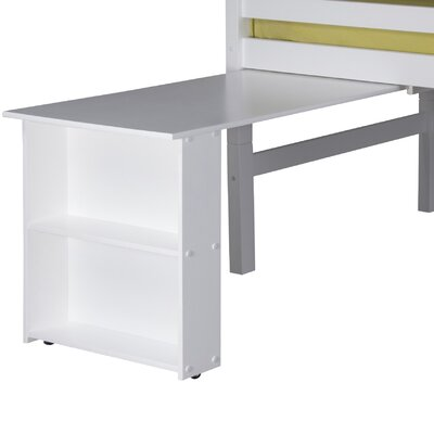 Isabelle Low Loft Bed Retractable Desk Color: White