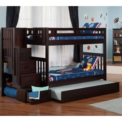Twin over Twin Bunk Bed with Staircase and Trundle