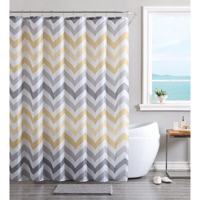 Devonte Chevron Shower Curtain Set Color: Yellow