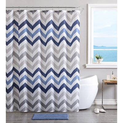 Devonte Chevron Shower Curtain Set Color: Blue