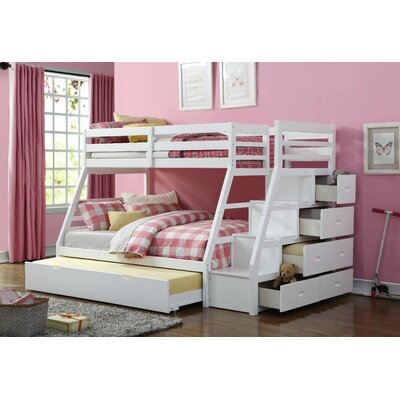 Reece Twin Over Full Slat Bunk Bed with Storage Ladder and Trundle