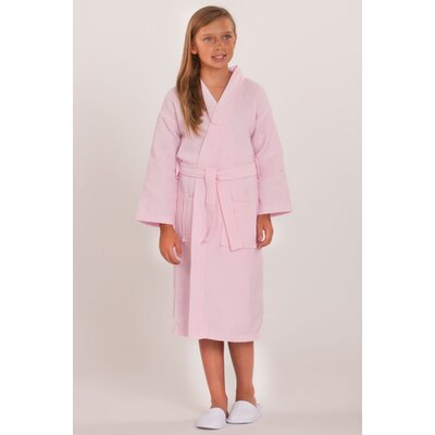 Noelle Waffle Kimono Robe Color: Pink, Size: Kids (Age 3-6) - Small Medium