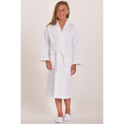 Noelle Waffle Kimono Robe Size: Kids (Age 7-10) - Large, Color: White