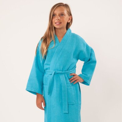 Noelle Waffle Kimono Robe Size: Kids (Age 7-10) - Large, Color: Turquoise