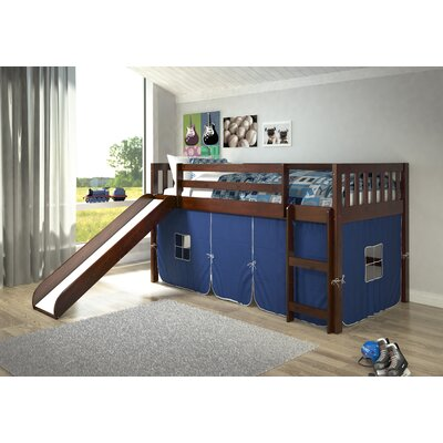 Maribel Mission Twin Low Loft Bed Tent Color: Blue