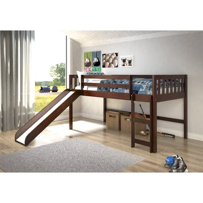 Maribel Mission Twin Low Loft Bed Tent Color: None