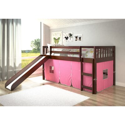 Maribel Mission Twin Low Loft Bed Tent Color: Pink