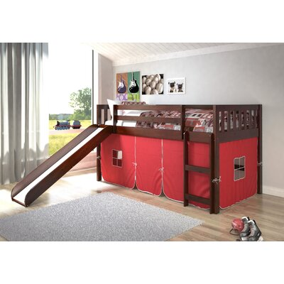 Maribel Mission Twin Low Loft Bed Tent Color: Red