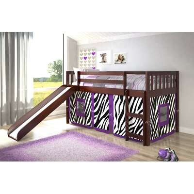 Maribel Mission Twin Low Loft Bed Tent Color: Zebra