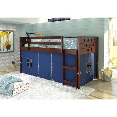 Catherine Circles Twin Loft Bed Tent Color: Blue, Finish: Dark Cappuccino
