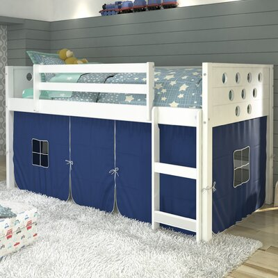 Catherine Circles Twin Loft Bed Tent Color: Blue, Finish: White