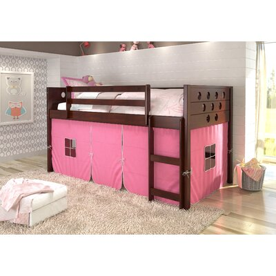 Catherine Circles Twin Loft Bed Tent Color: Pink, Finish: Dark Cappuccino