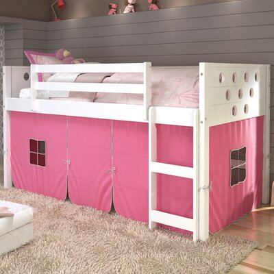Catherine Circles Twin Loft Bed Tent Color: Pink, Finish: White