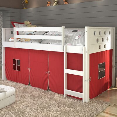 Catherine Circles Twin Loft Bed Tent Color: Red, Finish: White