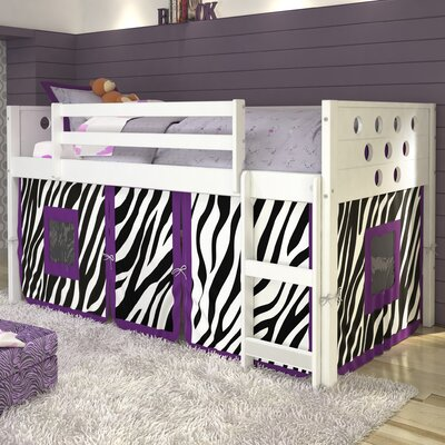 Catherine Circles Twin Loft Bed Tent Color: Zebra, Finish: White