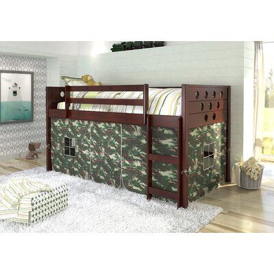 Catherine Circles Twin Loft Bed Tent Color: Camo, Color: Dark Cappuccino