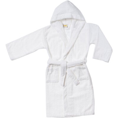 Viola Premium Long-Staple Combed Cotton Kids Hooded Bathrobe Size: Large, Color: White