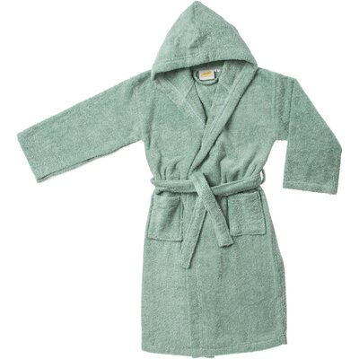 Viola Premium Long-Staple Combed Cotton Kids Hooded Bathrobe Size: Large, Color: Sage