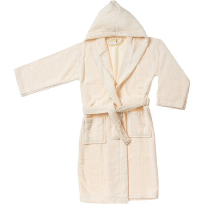 Viola Premium Long-Staple Combed Cotton Kids Hooded Bathrobe Size: Large, Color: Ivory
