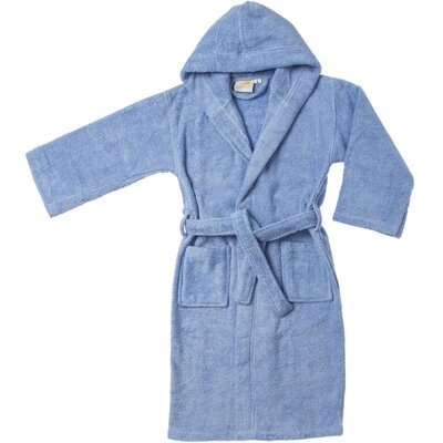 Viola Premium Long-Staple Combed Cotton Kids Hooded Bathrobe Size: Large, Color: Blue