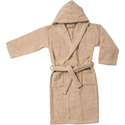 Viola Premium Long-Staple Combed Cotton Kids Hooded Bathrobe Size: Large, Color: Taupe