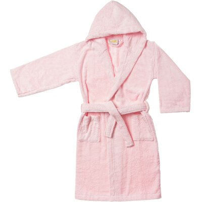 Viola Premium Long-Staple Combed Cotton Kids Hooded Bathrobe Size: Small / Medium, Color: Pink