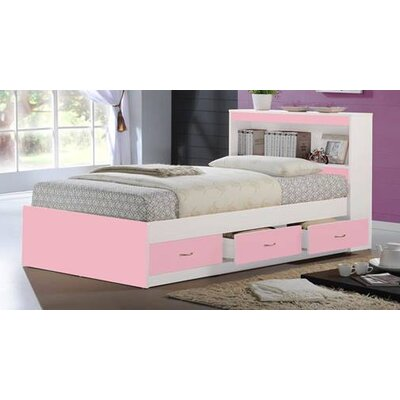 Keira Platform Bed with Storage Finish: Pink, Size: Twin