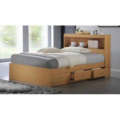 Keira Platform Bed with Storage Color: Beech, Size: Twin