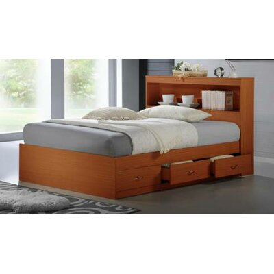 Keira Platform Bed with Storage Color: Cherry, Size: Twin