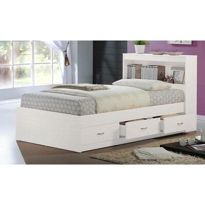 Keira Platform Bed with Storage Color: White, Size: Twin