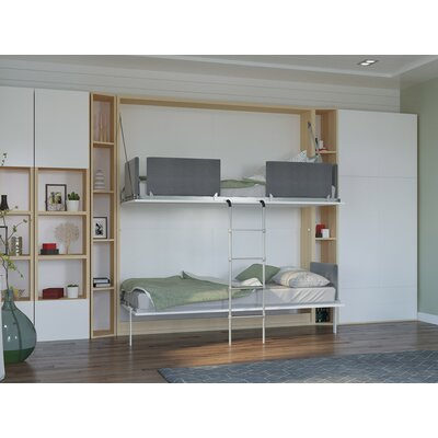 Butcombe Twin Murphy Bed Upholstery: Gloss White and Light Wood