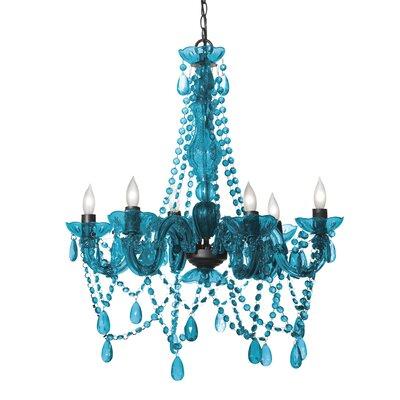 Barhorst 6-Light Crystal Chandelier Color: Turquoise