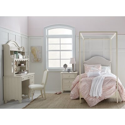 Otto Metal Canopy Bed Size: Twin, Finish: Taupe