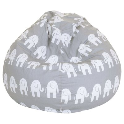 Elephant Print Bean Bag Chair Upholstery: Gray
