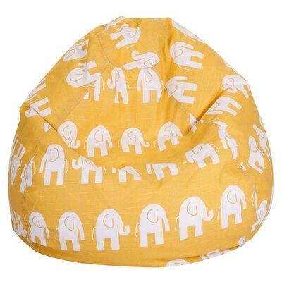 Elephant Print Bean Bag Chair Upholstery: Yellow