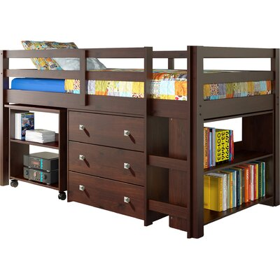 Zechariah Twin Low Loft Bed with Storage Finish: Dark Cappuccino
