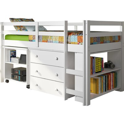 Zechariah Twin Low Loft Bed with Storage Finish: White