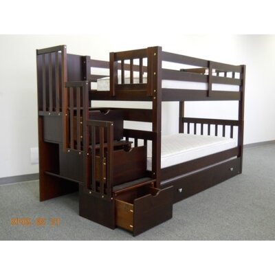 Mission Twin over Twin Bunk Bed with Trundle and Storage Finish: Cappuccino