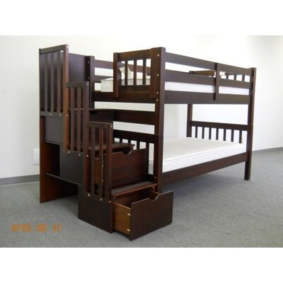 Shamar Stairway Twin Over Twin Bunk Bed with Trundle Bed Frame Color: Cappuccino
