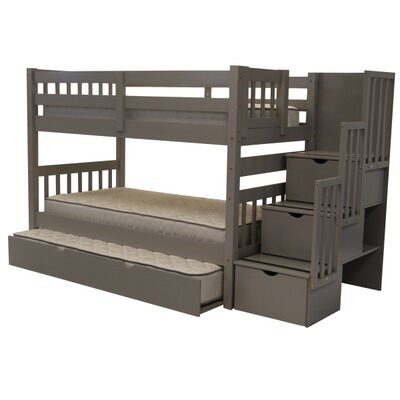 Shamar Stairway Twin Over Twin Bunk Bed with Trundle Bed Frame Color: Gray