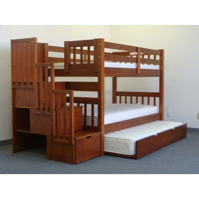 Mission Twin over Twin Bunk Bed with Trundle and Storage Finish: Espresso