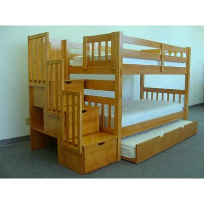 Mission Twin over Twin Bunk Bed with Trundle and Storage Finish: Honey