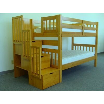 Shamar Stairway Twin Over Twin Bunk Bed with Trundle Bed Frame Color: Honey