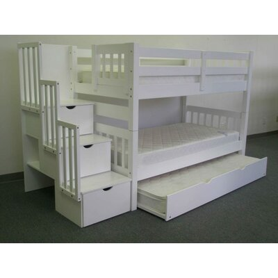 Mission Twin over Twin Bunk Bed with Trundle and Storage Finish: White