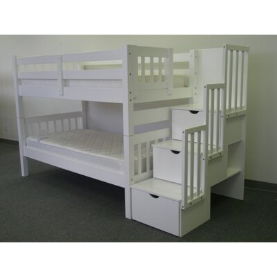 Shamar Stairway Twin Over Twin Bunk Bed with Trundle Bed Frame Color: White