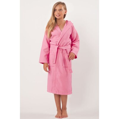 Trever Hooded Waffle Diamond Robe Size: Kids (Age 3-6) - Small Medium, Color: Pink