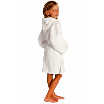 Trever Hooded Waffle Diamond Robe Size: Kids (Age 3-6) - Small Medium, Color: White
