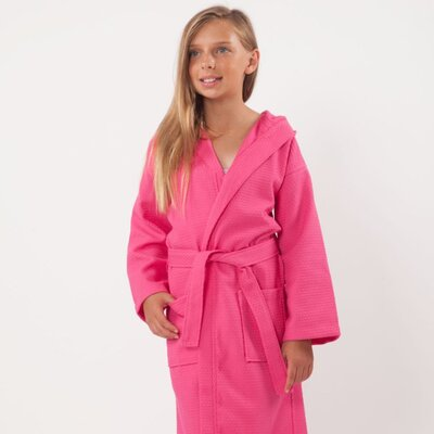 Trever Hooded Waffle Diamond Robe Size: Kids (Age 3-6) - Small Medium, Color: Fuchsia