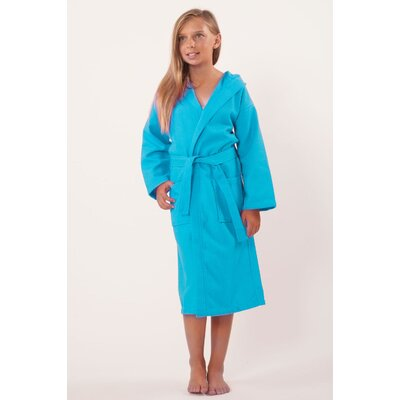 Trever Hooded Waffle Diamond Robe Size: Kids (Age 3-6) - Small Medium, Color: Turquoise